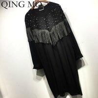 QING MO Beading Women Dress With Tassel Women Office Lady Style Dress Black Tshirt Dress 2019 Autumn Fashion ZQY1547