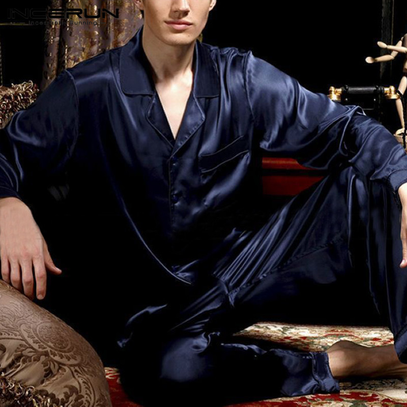 Silk Satin Men Pajamas Sets Soft Solid Sleepwear Long Sleeve Pants Homewear Comfortable Nightgown Sets Pyjamas 2 Pieces INCERUN