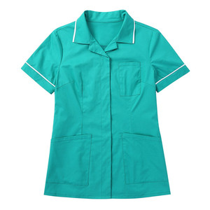 Image 4 - Womens Healthcare Tunic Turn down Collar Short Sleeves Button Down Cares Therapist Dentist Workwear Uniform Tops