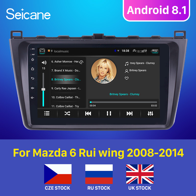 Seicane <font><b>Android</b></font> 8.1 2DIN Car Head Unit Radio Audio GPS <font><b>Multimedia</b></font> Player For <font><b>Mazda</b></font> <font><b>6</b></font> Rui wing 2008 2009 2010 2011 2012 2013 2014 image
