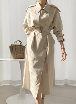 Casual Style New Spring Autumn Long Women Trench Coat Double Breasted with Belt  Loose Coat Lady Outerwear Fashion fashion new women trench coat long double breasted belt blue khaki lady clothes autumn spring outerwear