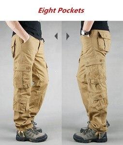 Image 4 - 男性カーゴパンツ 2019 秋の戦術的なパンツカジュアル綿のズボンの男性マルチポケット軍トラックパンツ男性パンタロンオム