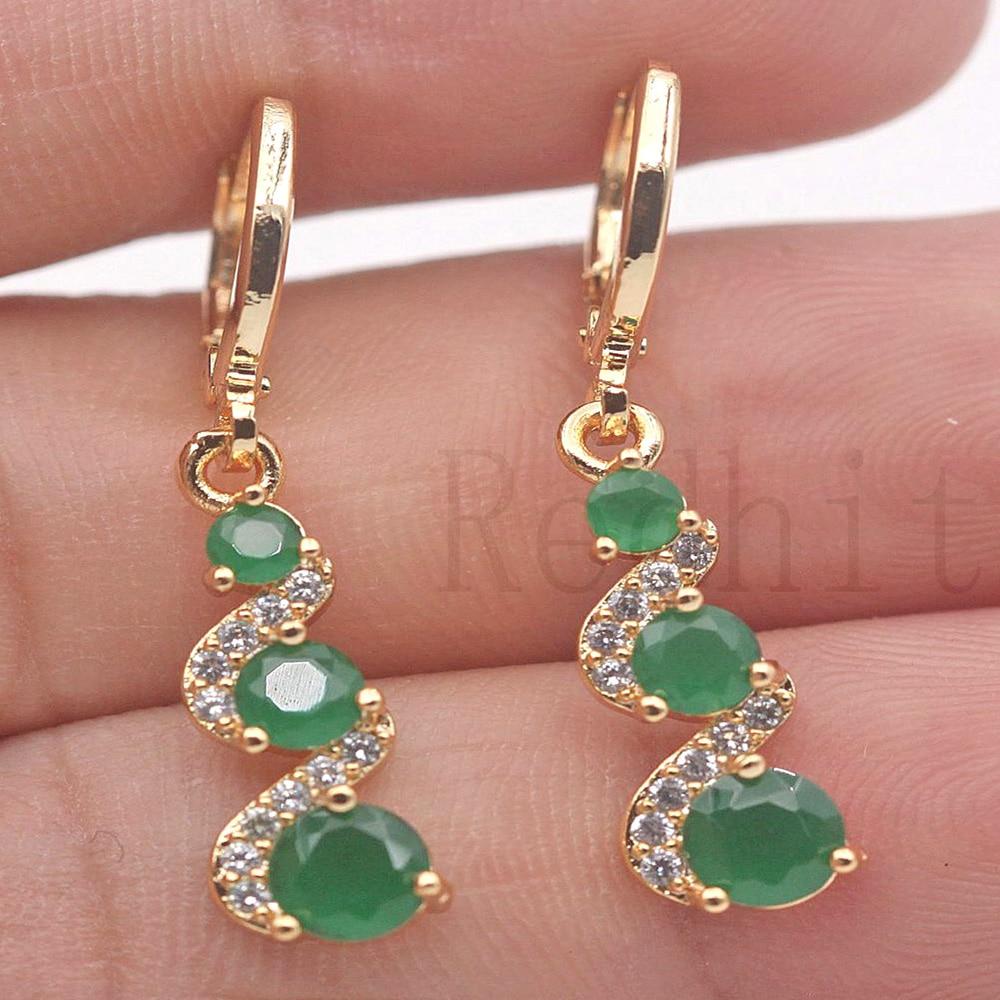 Brincos de gota de luxo para mulheres brinco de cor de ouro com arco-íris vermelho zircão verde na moda jóias para festa de casamento presente