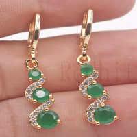 Luksusowe kolczyki spadek dla kobiet złoty kolor kolczyk z tęczy czerwony zielony cyrkon Trendy biżuteria na wesele prezent