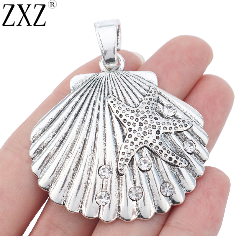 ZXZ 2pcs Antique Silver Large Scallop Shell With Starfish Rhinestone Charm Pendant For Necklace Jewelry Making Findings 65x52mm