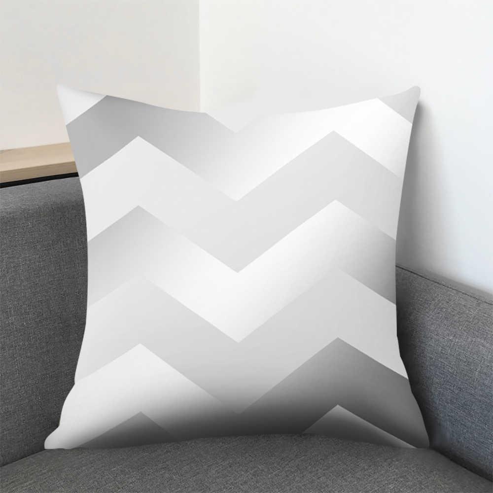 45*45cm אפור פסים גיאומטרי כרית כיסוי בית חדר שינה ספה לזרוק כרית כיסוי ציפית בית קישוטים