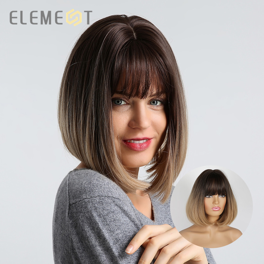 Element Synthetic Short Straight Bob Wigs For White/Black Women Ombre Brown Blonde Cosplay Party Or Daily Wigs With Bangs