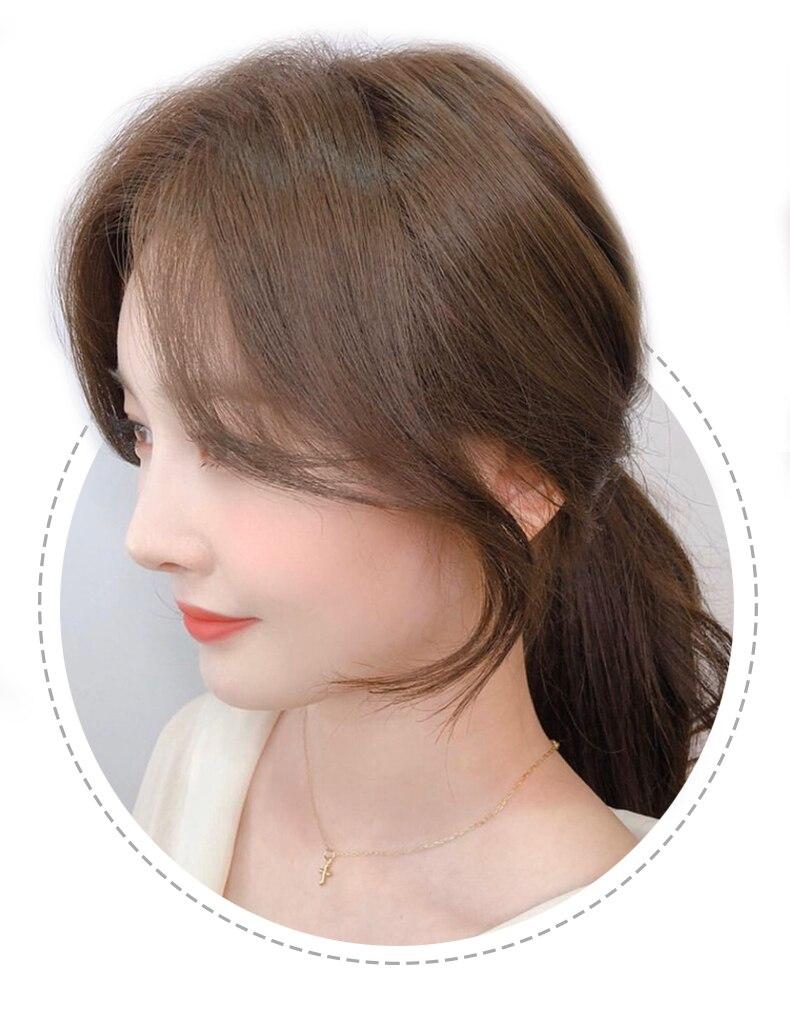 linha reta em franja cabelo humano estrondo
