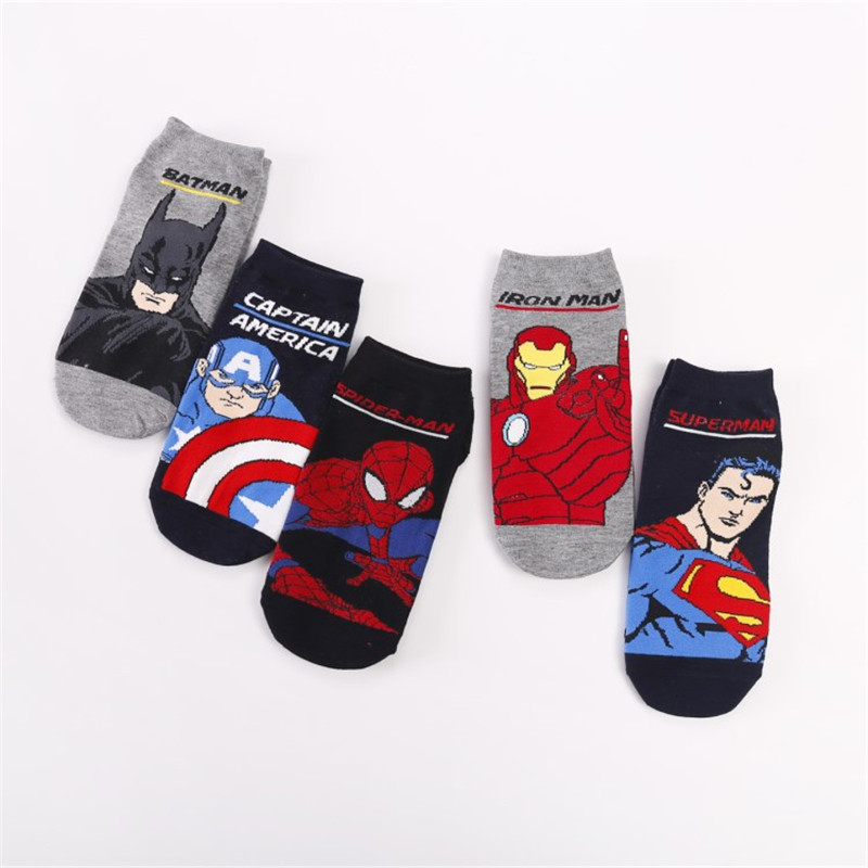 Marvel Comics Hero Women Socks Cartoon Iron Man Captain America Cosplay Spiderman Thor Hulk Kawaii Casual Summer Funny Socks