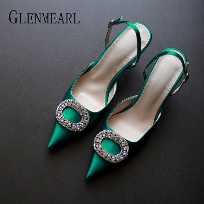 Women Heels Female Pumps Women Shoes Fashion Metal Decorative Buckle Strape Ladies Diamond Wedding Shoes Dress Shoes 2019 DE