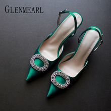 Купить с кэшбэком Women Heels Female Pumps Women Shoes Fashion Metal Decorative Buckle Strape Ladies Diamond Wedding Shoes Dress Shoes 2019 DE