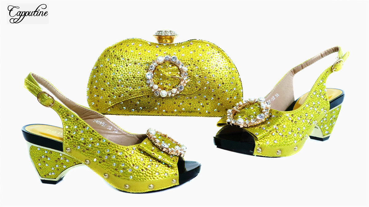 Pretty Yellow Sandals With Bag African Women's Pump Shoes And Purse Handbag Set With Stones GL1912-7 Heel Height 7.5cm