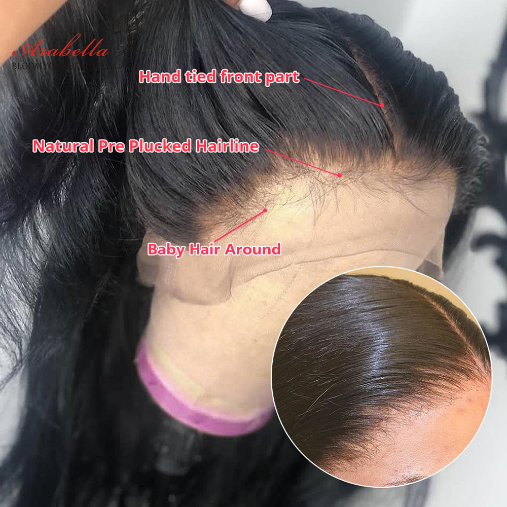 Straight Hair 360 Lace Frontal Wig 100%  Wigs PrePlucked Bleached Knots 180% Density Arabella  Hair Lace Front Wig 2