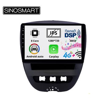 Sinosmart 8 rdzeń DSP48EQ IPS QLED 2 5D ekran nawigacja samochodowa gps odtwarzacz nawigacyjny dla Peugeot 107 Toyota Aygo Citroen C1 2005-2014 tanie i dobre opinie CN (pochodzenie) podwójne złącze DIN 4*50w (Peak) Android 8 1 JPEG Other Plastic 1280*720 bluetooth Wbudowany GPs Nadajnik FM