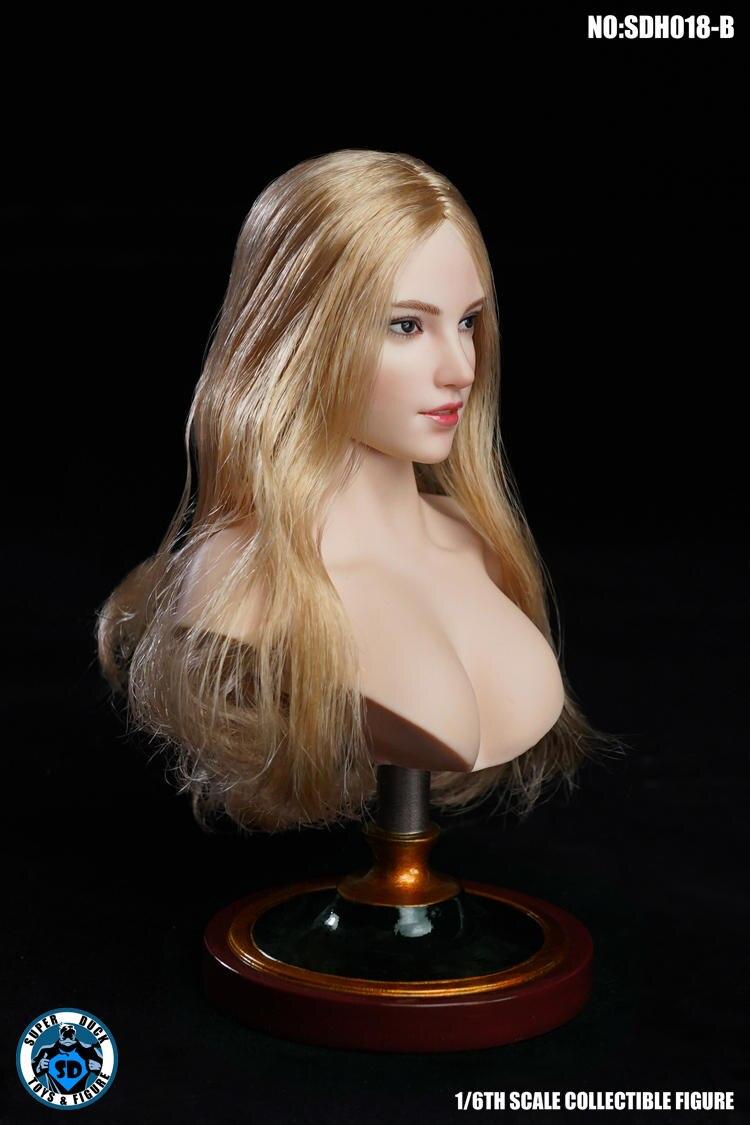 1//6 SUPER DUCK SDH018A Female Head Sculpt White Hair F 12/'/' PH Pale Body Figure