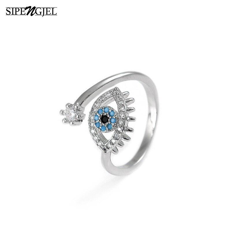 SIPENGJEL Tiny Trendy Cubic Zirconia green Eye Rings Rose Gold black eye Adjustable Rings For Women Girls Luxury Wedding Jewelry 5