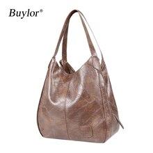 Buylor Women Handbags Vintage Luxury Leather Shoulder Bag Designers Women's Large Bag Fashion Brand Female Top-handle Bags