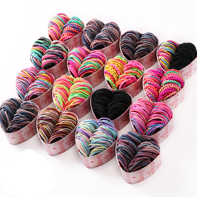 50PCS/Box Cute Girl Colorful Basic Elastic Hair Bands Ponytail Holder Scrunchies Kids Hair Ropes Rubber Bands Hair Ornament Gift