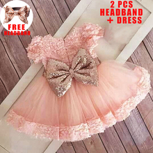 С блестками и бантом для девочек, платье на маленькую девочку, одежда для детей, платье на крестины, сначала 1st платье на день рождения вечерн...