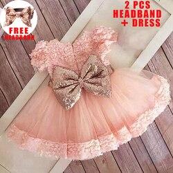 Vestido de lantejoulas para a menina do bebê vestido de batismo primeiro 1st vestido de aniversário festa menina roupas do bebê da criança vestidos infantis