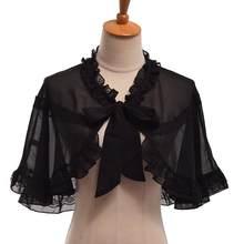Lolita Girls JSK Dress Black Mini Cape for Summer Short Chiffon Cape