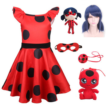 Lady Bug Party Dress Ladybug Cosplay Girls Dress Halloween Costume Baby Girls Dresses Thanksgiving Costume Carnival Costumes carnival red bug halloween cosplay costume princess flower girl dress summer tutu wedding birthday party red bug kids dresses
