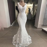 Boho Sexy Lace Mermaid Bridal Dresses Real Picture Elegant Appliques Wedding Gowns Vestido De Noiva Lace Up Back