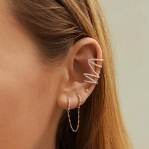 2020 New Round Circle Ear Cuff Earrings for Women Men Multiclor Gold Long Chain Crystal Boho Huggie Clip Earrings Brincos