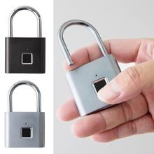 Fingerprint Padlock USB Rechargeable Smart Keyless Door Lock Stainless Steel Door Locks With USB Cable Security Tool