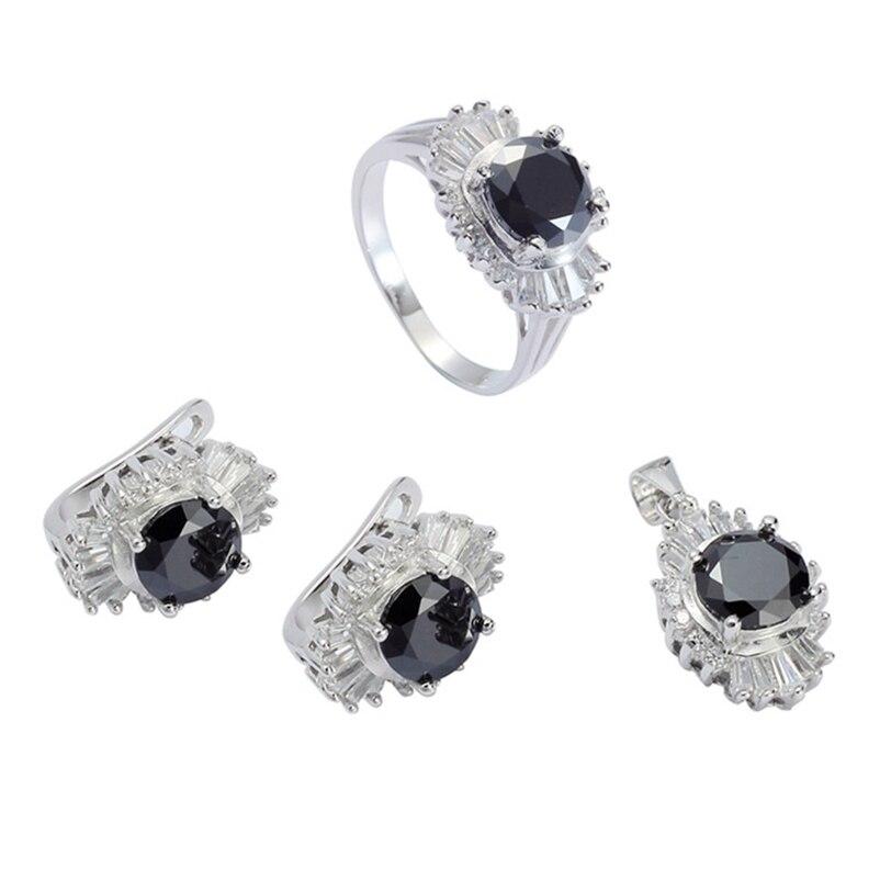 Eulonvan breloques luxe mariage bijoux ensembles femmes livraison directe 925 en argent sterling livraison directe noir zircon cubique S-3716set