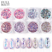 8 Box/Set Holografische Nail Glitter Set Poeder Nail Art Pigment DIY Flake Nail Art Decoraties Dust Gel Manicure Pigment CH1506-08(China)