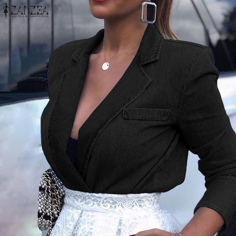 2019 Fashion Women's Blazers Coats ZANZEA Female Casual Denim Blue Suits Long Sleeve Overcoats Outwear Autumn Chaqueta Mujer 7
