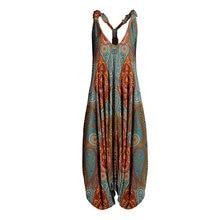 Women Teal & Orange Paisley Racerback Sleeveless Harem Jumpsuit Spaghetti Straps Long Summer Vintage Overall Jumpsuit For Women
