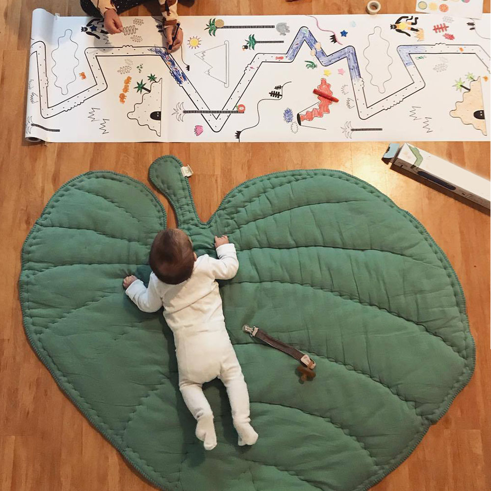 Floor Creeping Cartoon Soft Room Decoration Baby Play Mat Nursery Crawling Carpet Thickened Leaf Shape Cotton Blends Bedroom