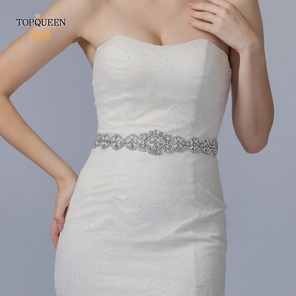 TOPQUEEN S161 Bridal Belts With Crystals Bridal Wedding Accessories Belts For Women Wedding Dress Sash Belt Of The Bride