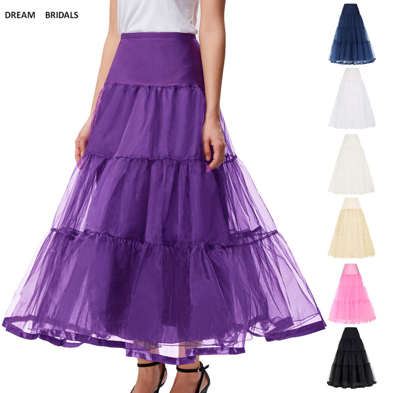 Women Black Red Retro Long Skirts For Wedding Fashion Vintage Skirt Crinoline Underskirt A-Line Empire Voile Tulle Petticoat