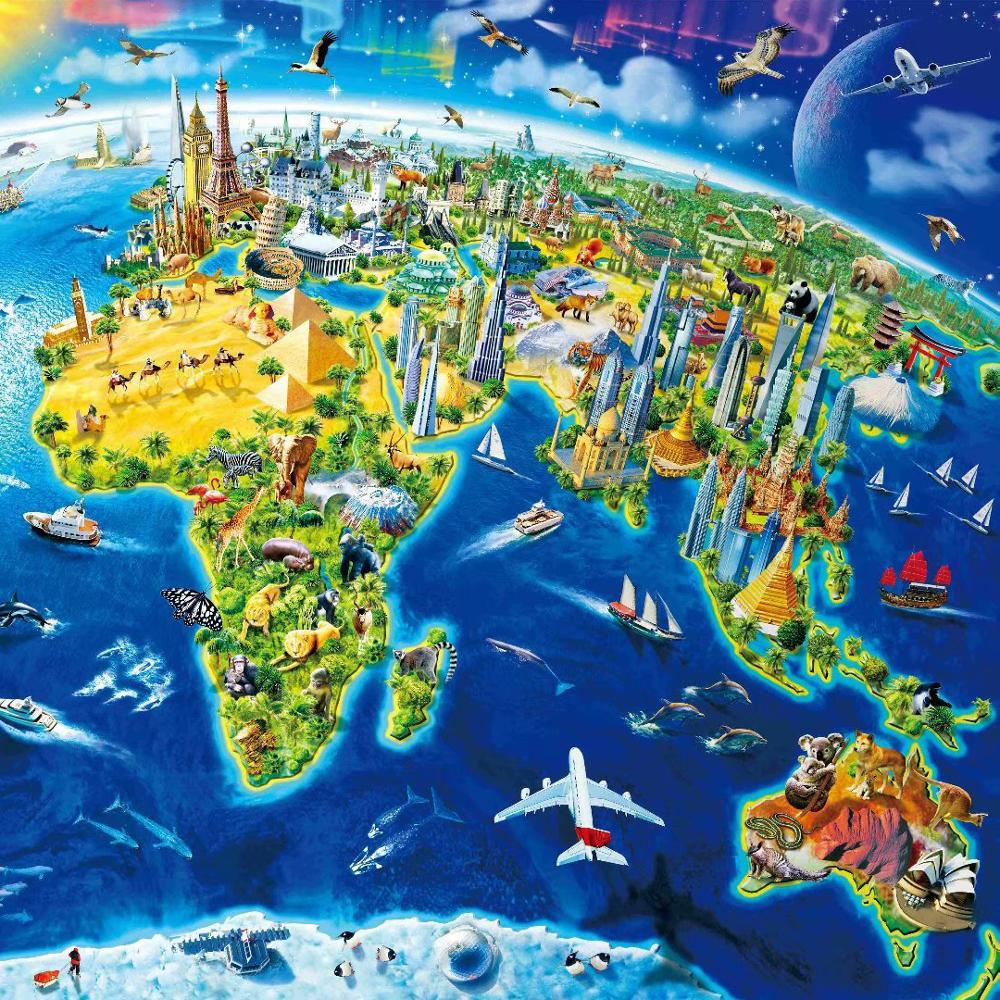World Map Puzzle 1000Pcs Wooden Decompression Building Block Game The World's Most Berutiful Jigaw Puzzle for Adult