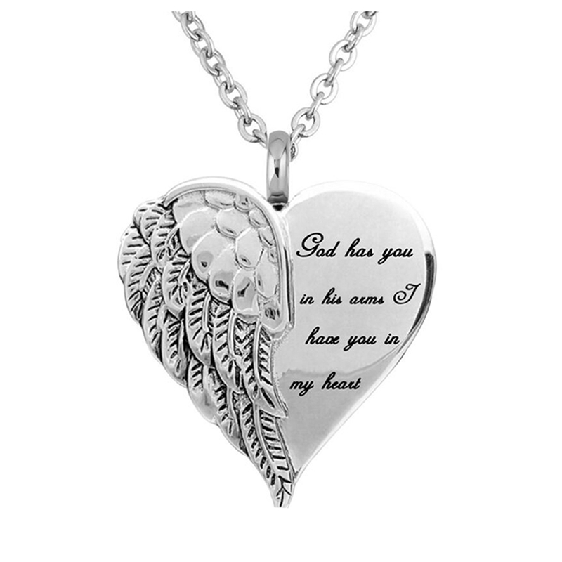 Stainless Steel Funeral Cremation Angel Wings Heart Pendant Keepsake Urn Necklace For Ashes Memorial Jewelry Mementos
