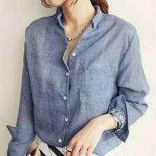 Women Long Sleeve Blouse Korean Woman Clothes Fashion linen2019 Autumn Linen White Shirt female blue white Tops Chemisier Femme