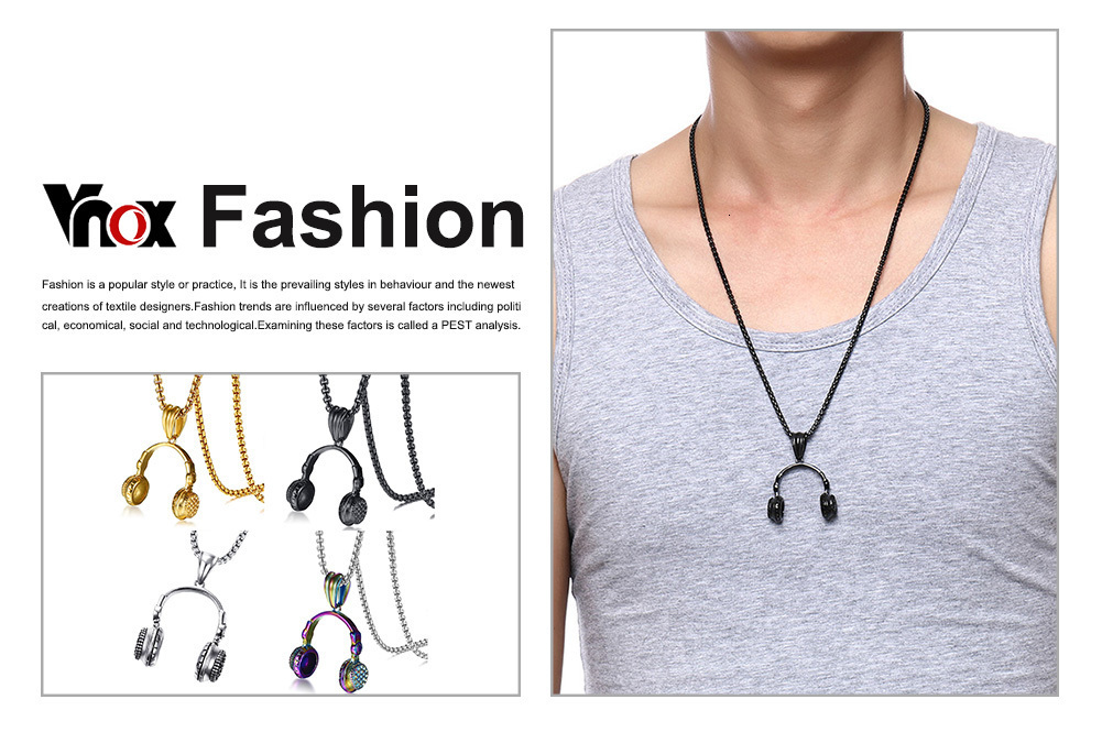 Headset Necklace Gold Color Stainless Steel Music Jewelry