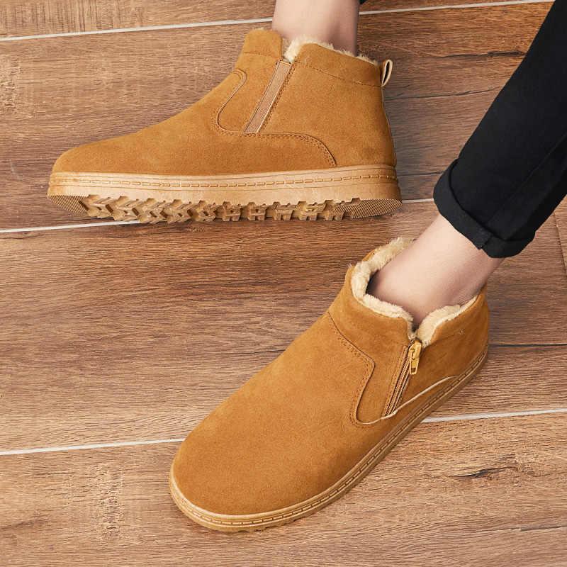 AODLEE Winter Warm Männer Stiefel Slip auf Pelz Plüsch Männer Schnee Stiefel Handgemachte Wasserdichte Arbeits Ankle Stiefel für Männer Hohe top Männer Schuhe