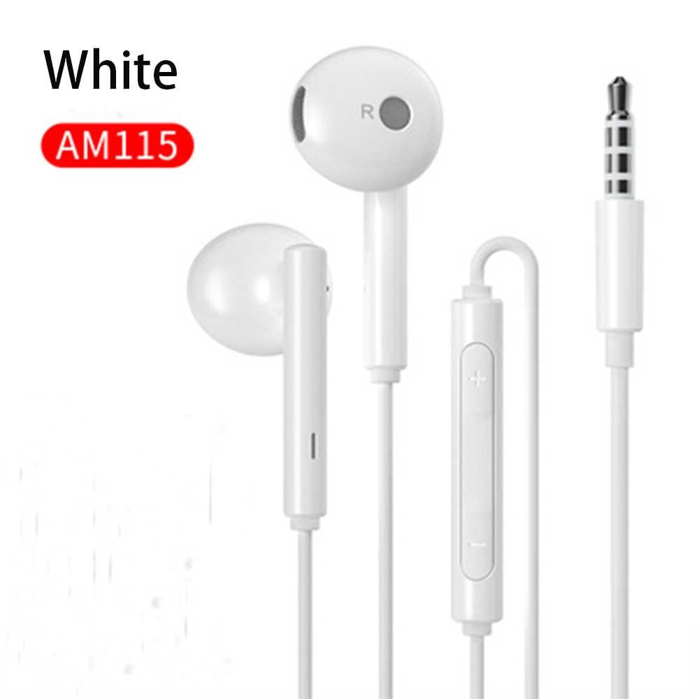100% oryginalny HUAWEI AM115 3.5mm słuchawki douszne w zestaw słuchawkowy z mikrofonem/regulacja głośności dla Huawei P9 P10 P20 P30 Lite telefony honor 8 9 10