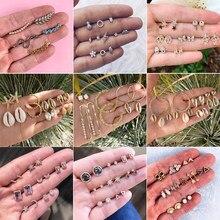 30 estilos boho lua de cristal estrelas cruz geometria brincos conjunto para as mulheres punk mix design folha aros casamento boêmio jóias