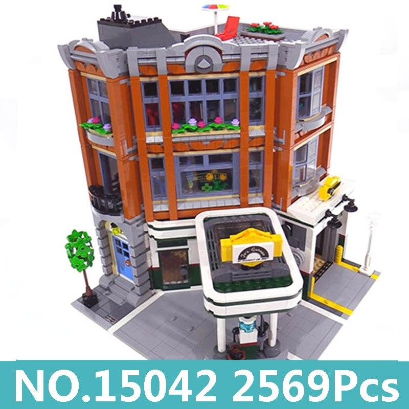 킹 벽돌 lepinblocks 15011 15042 도시 집 창조자 건축 형사 사무실 코너 차고 빌딩 블록 10264 완구-에서블록부터 완구 & 취미 의  그룹 1