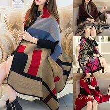 Women Blanket Oversized Tartan Scarf Wrap Shawl Plaid Cozy C