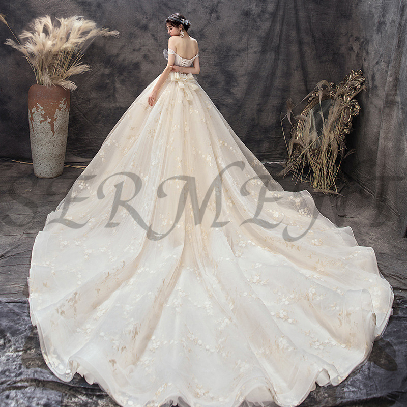 OLLYMURS Luxury Church Wedding Dress Off The Shoulder Back Lace Up Cathedral Boat Neck Applique Adornment Free Custom Made