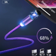 Magnetic Absorption Data Line Round Fast Charging Trinity Multifunctional Nylon Braided USB Charge