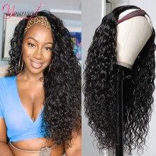 Younsolo-pelucas de cabello humano brasileño Remy para mujeres negras, diadema con ondas, sin pegamento, peluca y bufanda, 8-28 pulgadas