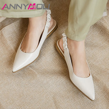 ANNYMOLI Women Slingbacks Shoes Natural Genuine Leather Flat Dress Elastic Band Pointed Toe Female Footwear Beige Black