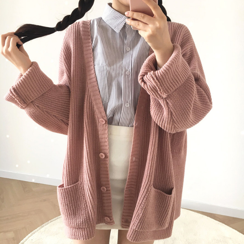 2020 Casual Women Outwear Cardigan Knitted Loose Two Pockets Female Sweaters 4 Colors Pink Black Ladies Cardigans Sweater Jacket
